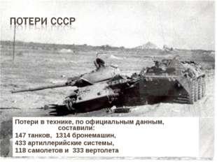 Потери в технике, по официальным данным, составили: 147 танков, 1314 бронемаш