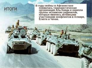В годы войны в Афганистане появилась террористическая организация Аль-Каида и