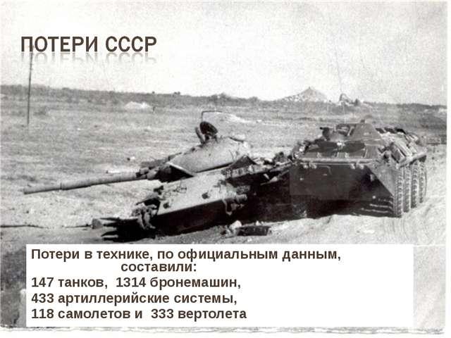 Потери в технике, по официальным данным, составили: 147 танков, 1314 бронемаш...