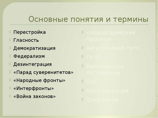 Основные понятия и термины Перестройка Гласность Демократизация Федерализм Де...