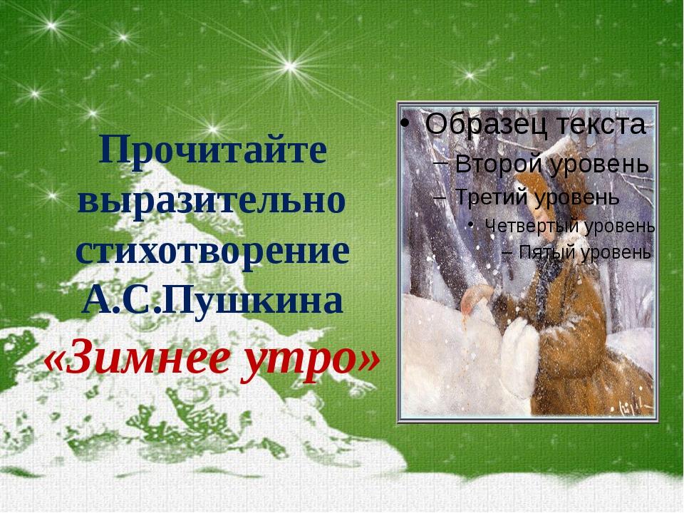 Прочитайте выразительно стихотворение А.С.Пушкина «Зимнее утро»