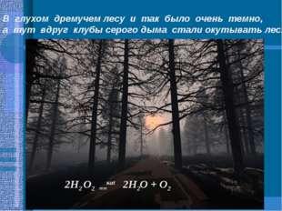 В глухом дремучем лесу и так было очень темно, а тут вдруг клубы серого дыма