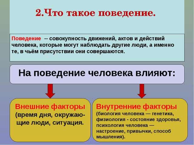 2.Что такое поведение. Поведение — это внешняя характеристика внутреннего со...