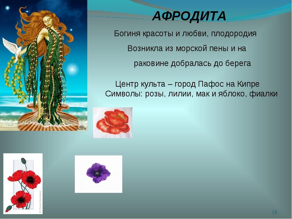 * АФРОДИТА Богиня красоты и любви, плодородия Возникла из морской пены и на р...
