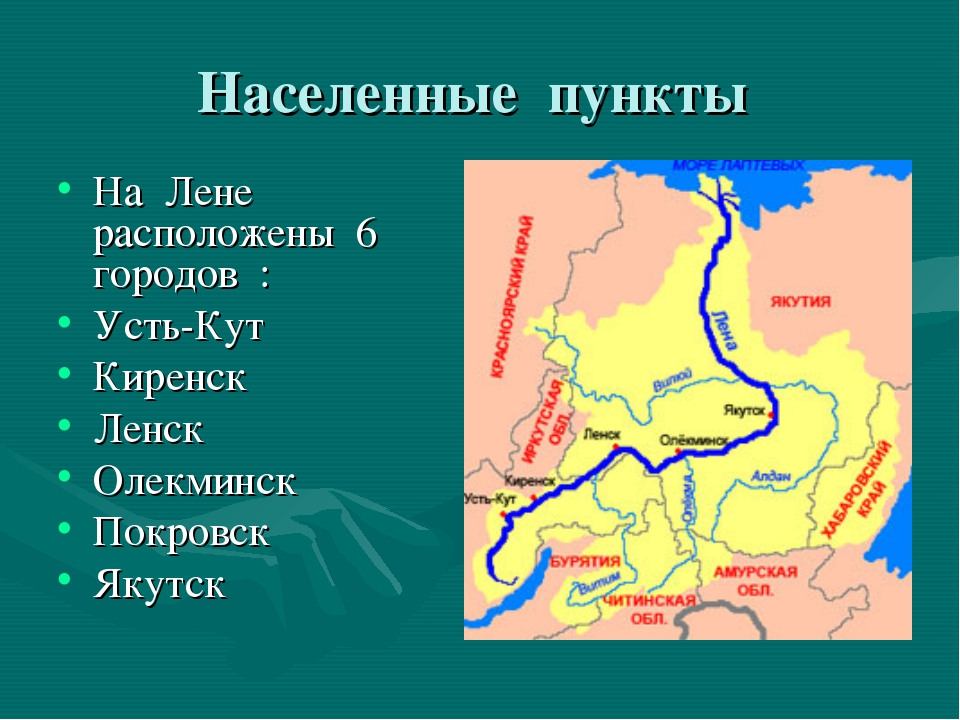 Населенные пункты На Лене расположены 6 городов : Усть-Кут Киренск Ленск Олек...