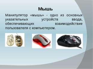 Мышь Манипулятор «мышь» - одно из основных указательных устройств ввода, обе
