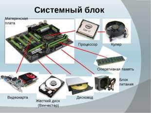 Системный блок Материнская плата Процессор Кулер Видеокарта Жесткий диск (Вин