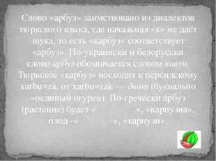Слово «арбуз» заимствовано из диалектов тюркского языка, где начальная «к» не