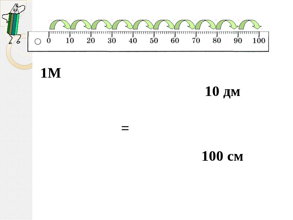 1М = 10 дм 100 см
