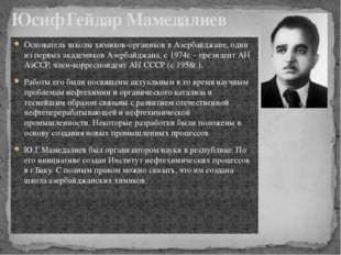 Основатель школы химиков-органиков в Азербайджане, один из первых академиков