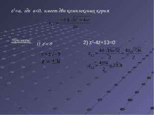 Примеры: z2=-9 z2=a, где a