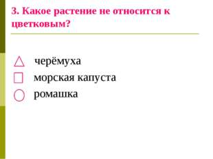 3. Какое растение не относится к цветковым? черёмуха морская капуста ромашка