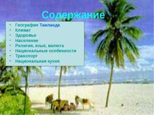 Содержание География Таиланда Климат Здоровье Население Религия, язык, валюта