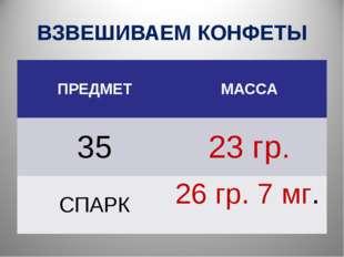 ВЗВЕШИВАЕМ КОНФЕТЫ ПРЕДМЕТМАССА 3523 гр. СПАРК26 гр. 7 мг.