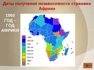 Даты получения независимости странами Африки 1960 ГОД – ГОД АФРИКИ Хапилина Е