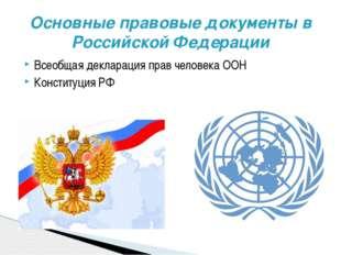 Всеобщая декларация прав человека ООН Конституция РФ Основные правовые докуме