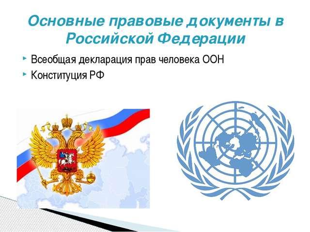 Всеобщая декларация прав человека ООН Конституция РФ Основные правовые докуме...