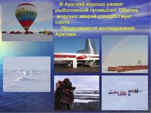 В Арктике хорошо развит рыболовный промысел. Обилие морских зверей способств