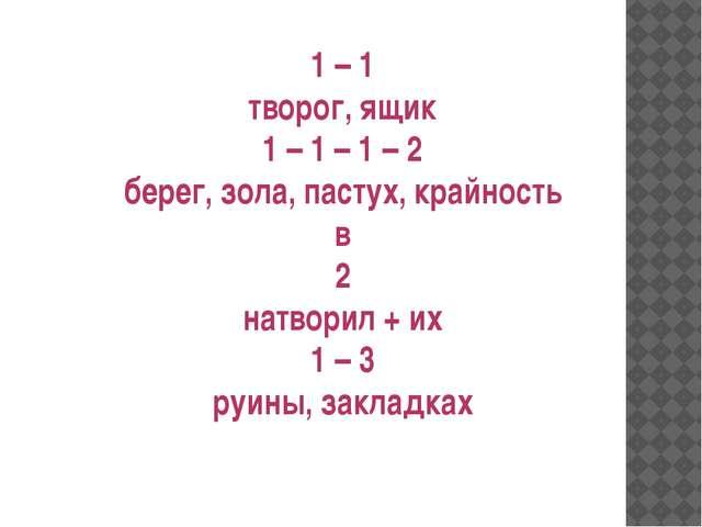 1 – 1 творог, ящик 1 – 1 – 1 – 2 берег, зола, пастух, крайность в 2 натворил...