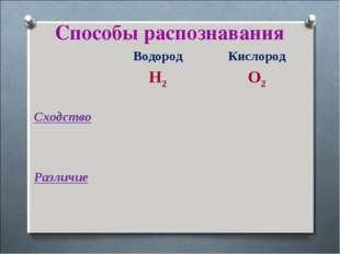 Способы распознавания Водород H2Кислород O2 Cходство Различие