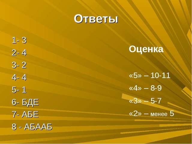 Ответы 1- 3 2- 4 3- 2 4- 4 5- 1 6- БДЕ 7- АБЕ 8 - АБААБ Оценка «5» – 10-11 «4...