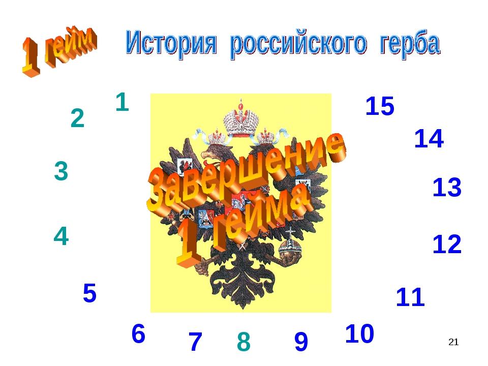 * 8 1 2 3 4 5 6 7 9 10 11 12 13 14 15