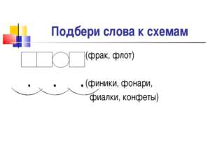 Подбери слова к схемам (фрак, флот) (финики, фонари, фиалки, конфеты)