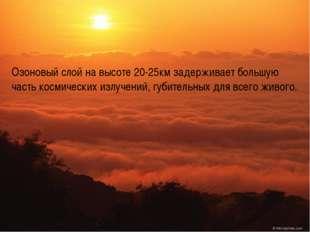 Озоновый слой на высоте 20-25км задерживает большую часть космических излучен