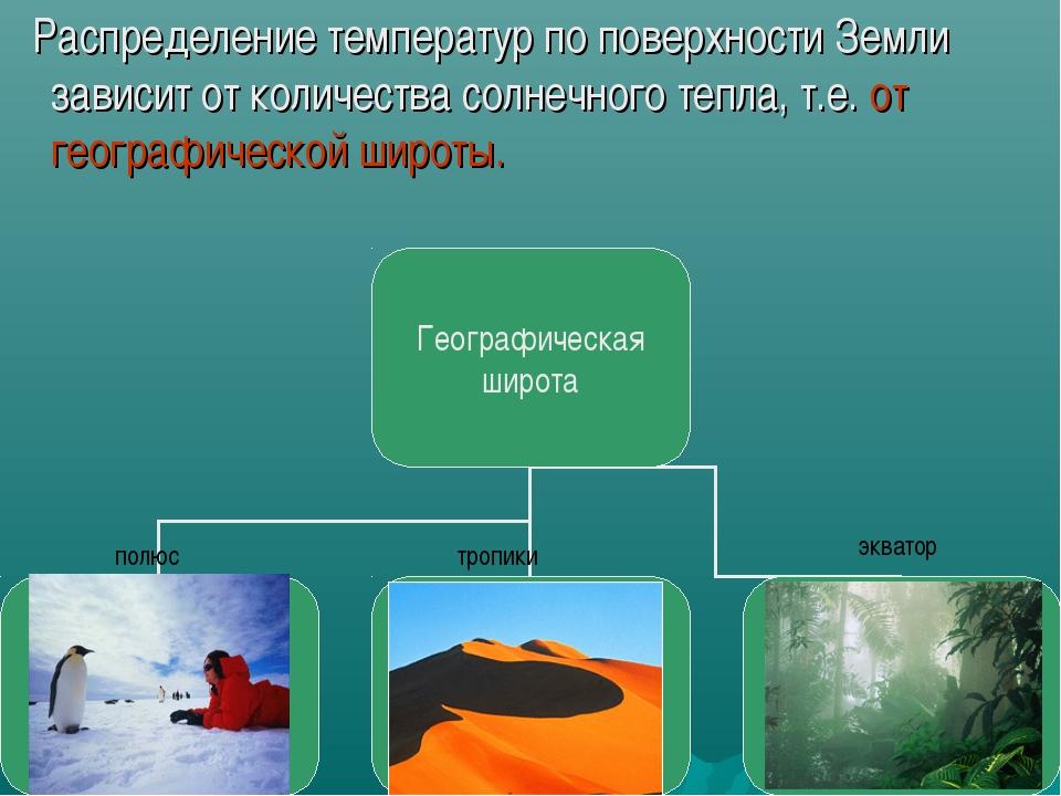 Распределение температур по поверхности Земли зависит от количества солнечно...