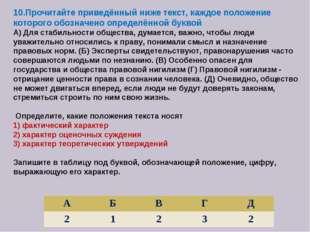 10.Прочитайте приведённый ниже текст, каждое положение которого обозначено оп