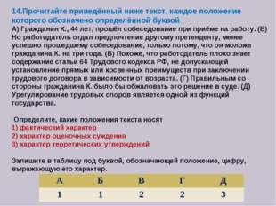 14.Прочитайте приведённый ниже текст, каждое положение которого обозначено оп