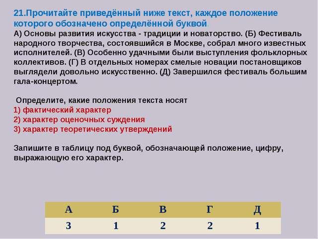 21.Прочитайте приведённый ниже текст, каждое положение которого обозначено оп...