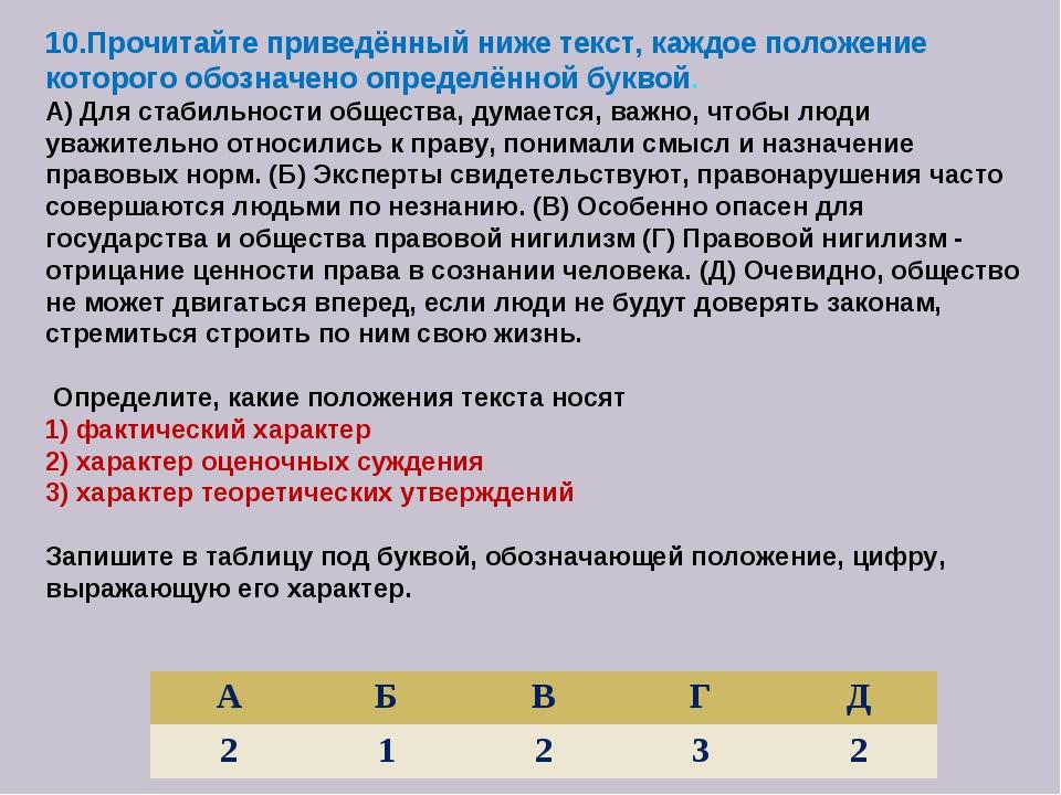 10.Прочитайте приведённый ниже текст, каждое положение которого обозначено оп...