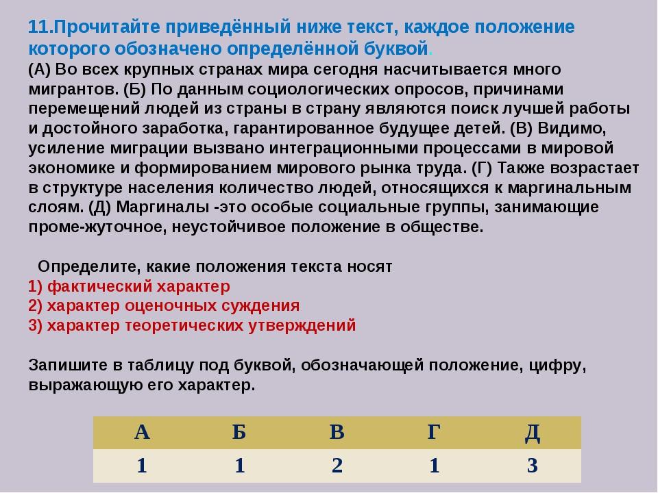 11.Прочитайте приведённый ниже текст, каждое положение которого обозначено оп...