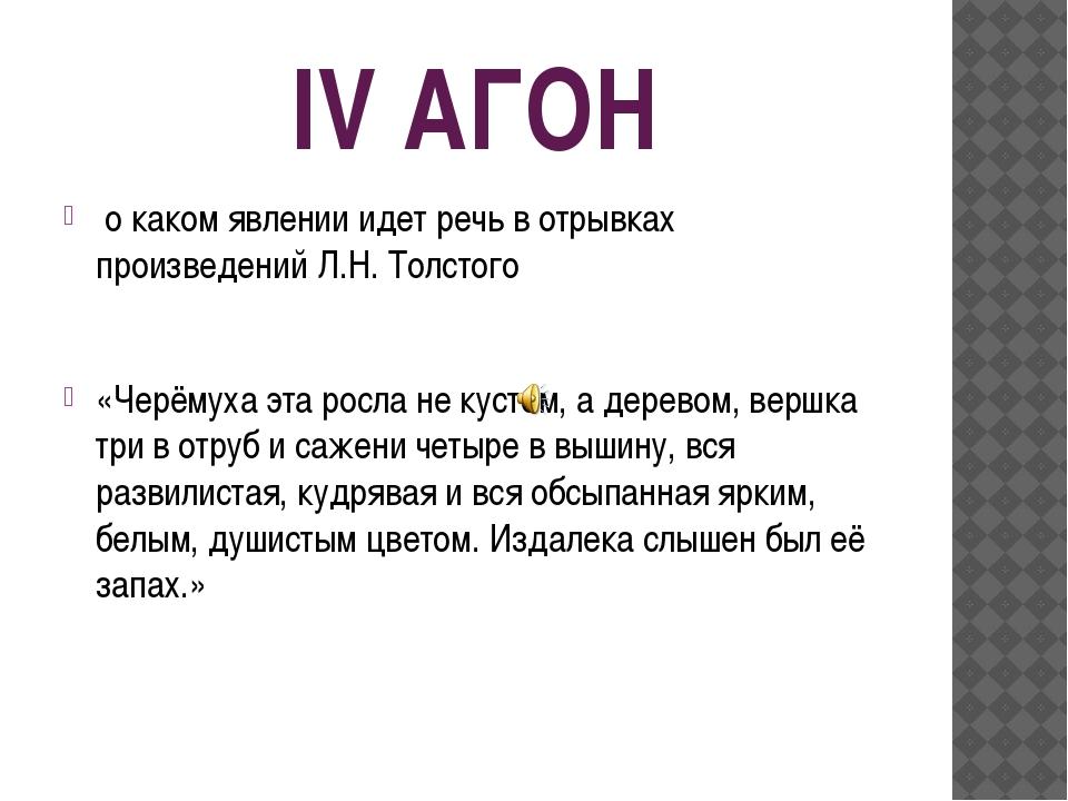 IV АГОН о каком явлении идет речь в отрывках произведений Л.Н. Толстого «Черё...