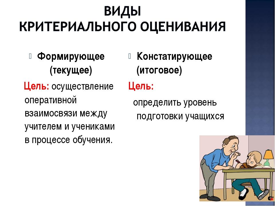Формирующее (текущее) Цель: осуществление оперативной взаимосвязи между учите...