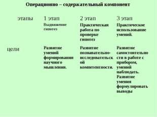 Операционно – содержательный компонент этапы 1 этап Выдвижение гипотез 2 эт