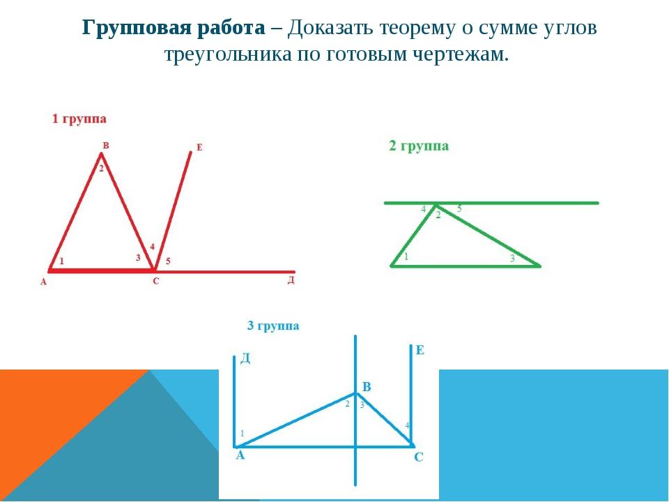 Групповая работа – Доказать теорему о сумме углов треугольника по готовым чер...