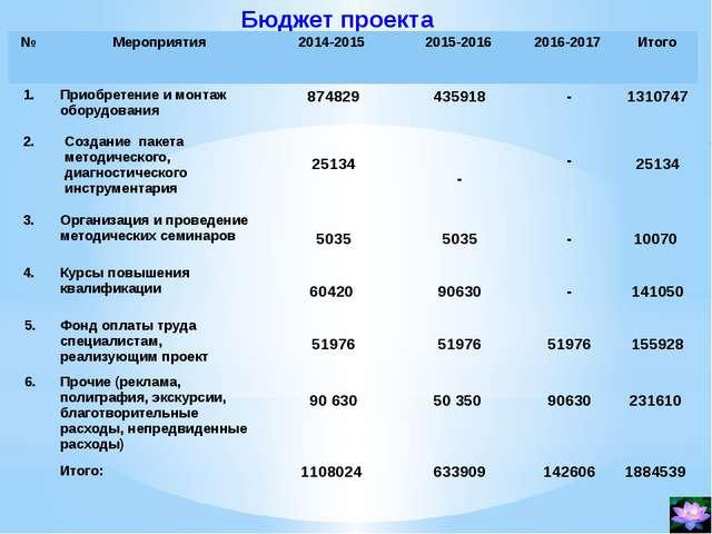 Бюджет проекта № Мероприятия 2014-2015 2015-2016 2016-2017 Итого 1. Приобрете...