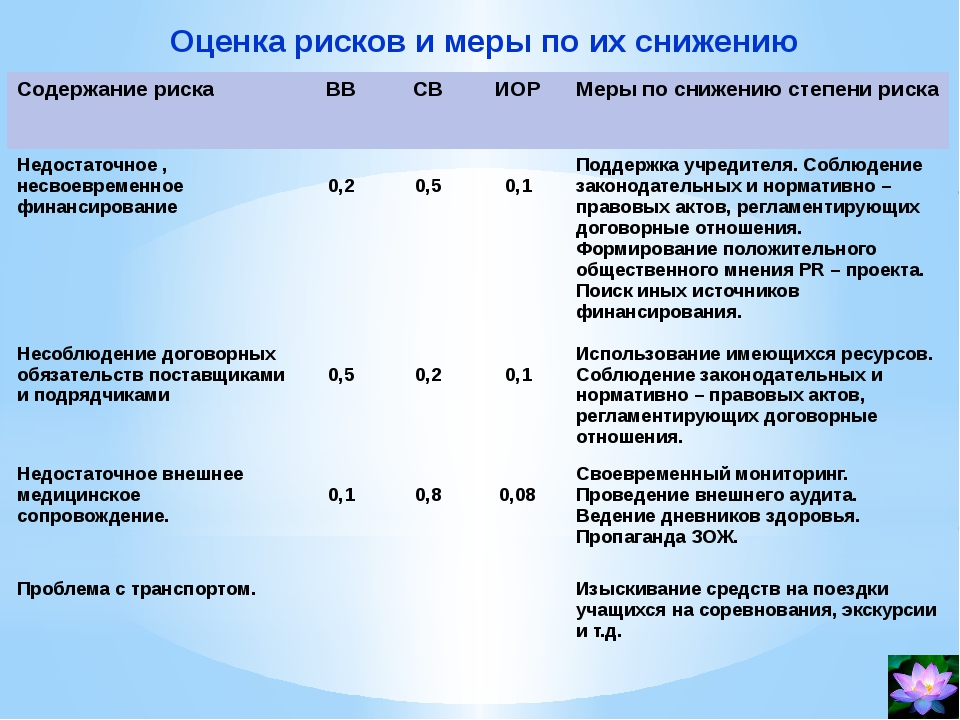 Оценка рисков и меры по их снижению Содержание риска ВВ СВ ИОР Мерыпо снижени...