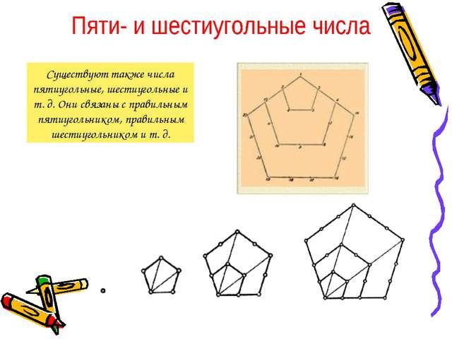 Существуют также числа пятиугольные, шестиугольные и т. д. Они связаны с прав...
