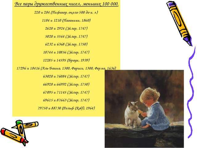 Все пары дружественных чисел, меньших 100 000. 220 и 284 (Пифагор, около 500...