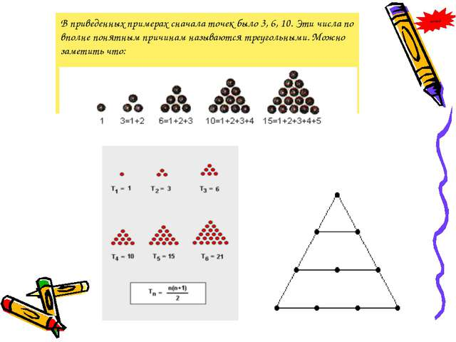 В приведенных примерах сначала точек было 3, 6, 10. Эти числа по вполне понят...