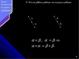 V. И если удвоим равные, то получим равные. α β β1 α1 1 1 1 Теория Построения