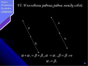 α α1 β β1 VI. И половины равных равны между собой. 1 1 1 1 1 1 Теория Построе