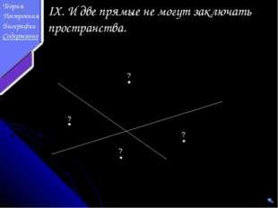 IX. И две прямые не могут заключать пространства. ? ? ? ? Теория Построения Б