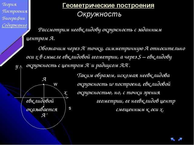 Рассмотрим неевклидову окружность с заданным центром A. Обозначим через...
