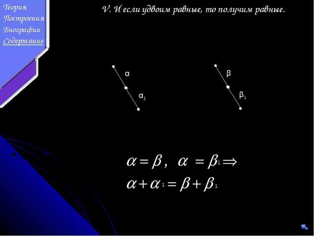 V. И если удвоим равные, то получим равные. α β β1 α1 1 1 1 Теория Построения...