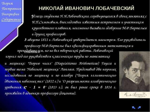 НИКОЛАЙ ИВАНОВИЧ ЛОБАЧЕВСКИЙ Успехи студента Н.И.Лобачевского, соревнующегося...