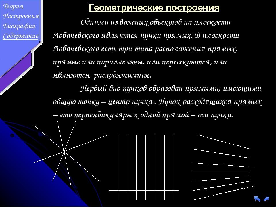 Геометрические построения Одними из важных объектов на плоскости Лобачевског...